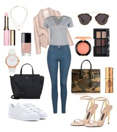 """""""Black // Camo """" by ashleeyneeo on Polyvore featuring Zizzi, Kate Spade, By Malene Birger, Topshop, adidas, Yves Saint Laurent, Christian Dior, Clarins, Chanel and Hoola"""