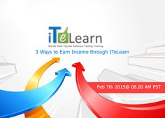 """Want to earn income easily? ITeLearn is going to conduct a special live session """"3 ways to earn income through ITeLearn"""" on Feb 7th@ 8:00 AM PST. It is designed excellently for you with very simple process.   Join this affiliate program without fail and get paid. http://www.itelearn.com/affiliates/"""