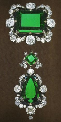 diamond and emerld brooch owned by Queen Margherita of Italy, rectangular emerald is 42 carats.