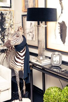 Ryan Korban | Baby zebra in front of gallery wall & console table