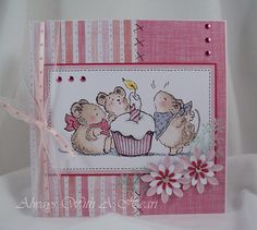What an adorable Penny Black mice card! I love the soft pink.