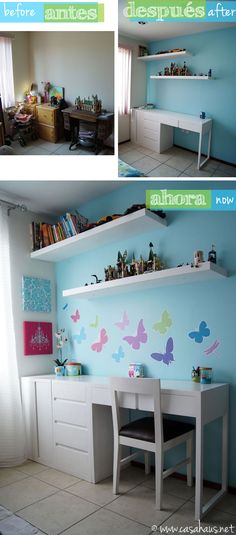 French inspired tween girl's bedroom makeover in aqua and pink / Casa Haus