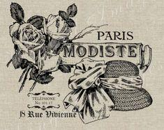 Paris Modiste française mode Ad instantanée Télécharger Digital Image No.51 transfert sur tissu de tissu (toile de jute, lin) des tirages papier (balises de cartes)