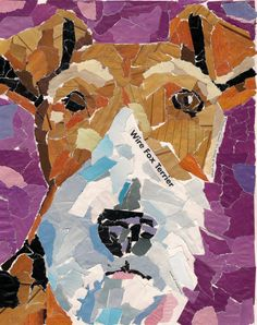 Paper Mosaic Dog Portrait Fox Terrier. $75.00, via Etsy.