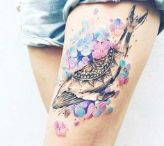 Awesome watercolor tattoo style of Whale and Flowers idea by Pissaro Tattoo                                                                                                                                                                                 More