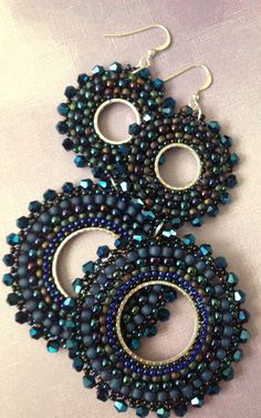 Beadwork Double Hoop Indigo Goddess Beaded Earrings by WorkofHeart Earrings Pendant approx) fasteners in diamond shape twisted weaving peyote in Miyuki Delicas (Japanese high quality glass beads) yellow, black and silver. Beaded Jewelry Designs, Bead Jewellery, Handmade Beaded Jewelry, Jewelery, Seed Bead Earrings, Beaded Earrings, Beaded Bracelets, Double Earrings, Peyote Bracelet