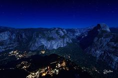 Yosemite Night  A superwide shot of the Yosemite village by night. Under a sky full of stars, campers and hikers are preparing for the night. We are at Glacier Point taking the last photos of the day of this incredible place and the only sound we can hear is just the wind blowing softly in this late summer night. Ever dreamed to be a bird to fly in a majestic place like this one?For prints or licenses visit my  shop