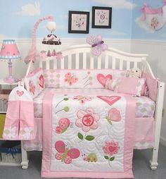 SoHo Boutique Butterfly Kisses Baby Crib Nursery Bedding Set 13 pcs included Diaper Bag with Changing Pad Bottle Case Baby Crib Bedding Sets, Nursery Crib, Crib Sets, Baby Pillows, Baby Cribs, Pink Camo Baby, Baby Quilt Patterns, Baby Girl Quilts, Baby Sewing