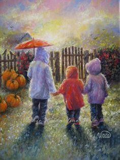 Three Rain Sisters Print, three sisters, fall, paintings, autumn, umbrella, paintings, three children, art prints, three girls, pumpkins