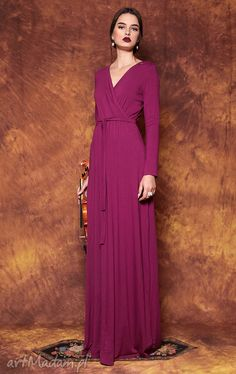 Looking for Dresses? Call off the search with our Long Dress Opus X. Shop unique fashion at SilkFred Feminine Dress, Viscose Fabric, Unique Fashion, Dress Patterns, Dress Making, Wrap Dress, Neckline, Slim, Elegant