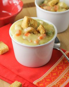 Chicken Pot Pie Soup - comfort food in a bowl! This chunky soup is loaded with vegetables and chicken and is like classic chicken pot pie without the crust.
