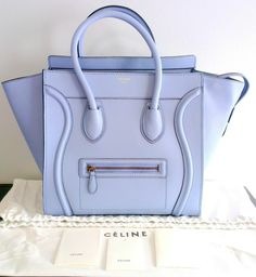 NEW Auth Celine Mini Luggage Pale Sky Blue Smooth Calf Leather Tote Handbag Bag