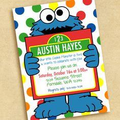 Cookie Monster Birthday Party Invitation. $15.00, via Etsy.