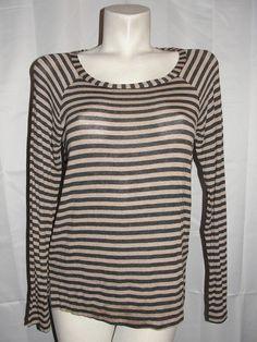 NEW Splendid Top Women's Size Large Brown Gray Stripe LS Raglan Pullover Shirt #Splendid #KnitTop #CasualCareer