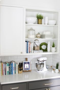 The Inspired Room House Tour - Kitchen Open Shelves Christmas Decorating