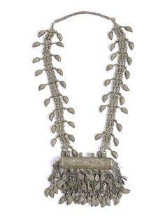 Buy Silver Vintage Afghani Neckpiece Metal Beads Semi precious Stones Coins…