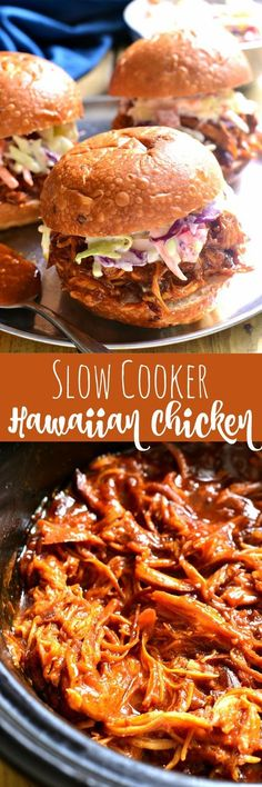 This Slow Cooker Hawaiian Chicken is sweet and smoky and slow cooked to perfection. It makes a great sandwich, and is perfect for family dinners, parties, game day, or anytime you're looking for something super easy & incredibly delicious!: