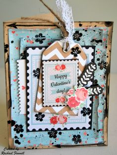 """""""Happy Valentines Day"""" Card by Rachael Funnell using Kaisercraft 'XO' Collection ~ Cards 1."""