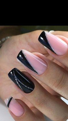 Bright Nail Designs, Elegant Nail Designs, Black Nail Designs, Classy Nails, Stylish Nails, Trendy Nails, Gold Nails, Black Nails, Pink Nails