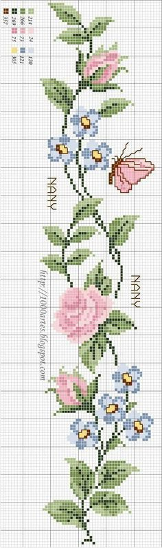 "Teatime Rose. [   ""Free Cross Stitch Pattern - Flowers and butterflies"",   ""cross stitch chart flower border or bookmark"",   ""Long version of Roses cross stitch chart"",   ""Handicrafts: Roses for embroidery cross stitch / Cross stitch roses"",   ""cross stitch chart can use with beading loom"",   ""Find parts of your perfect world on Indulgy, keep them for yourself, and share to others."",   ""roses plus papillons"",   ""Flowers n butterflies."",   ""Maybe just the blue flowers could do for my niece"