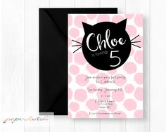 Printable kitten birthday party invitation personalized cat cat birthday party invitation pink poka dot kitten darling kitty party pink and black girls birthday digital file or printed filmwisefo Image collections