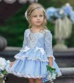 Little girls#bleu dress#