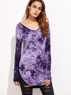 Purple Tie Dye Curved Hem T-shirt