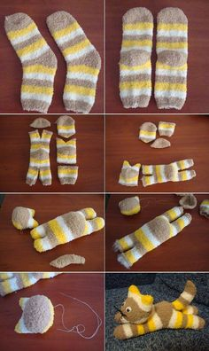 Sewing Crafts Toys We bet you would never have thought of making toys from socks. Most important thing in that is that you don't need to have extraordinary skills to make sock animals because it is an very Sock Crafts, Cute Crafts, Creative Crafts, Fabric Crafts, Crafts With Socks, Simple Crafts, Cute Diys, Sewing Toys, Sewing Crafts