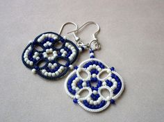 Nautical striped blue and white tatted earrings made in Italy