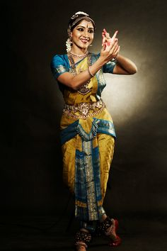 Bejeweled Bharata Natyam dancer. Bharata Natyam is a classical dance form from the South Indian state of Tamil Nadu, dating back to 1000 B.C.