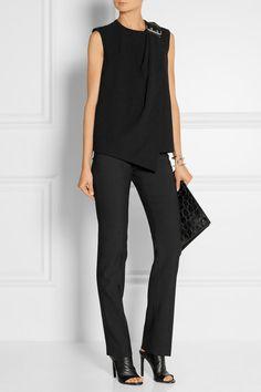 Balenciaga   Wrap-effect leather-trimmed crepe top   NET-A-PORTER.COM