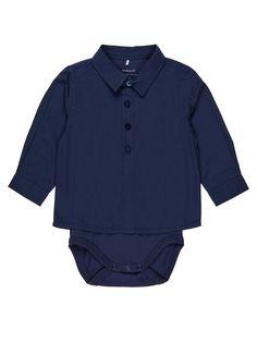 1b070c8a Skjortebody | Med lange ermer | Klassisk krage | Knappelukking |  Trykknapper ved skrittet | Vi