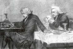 'Mozart and Salieri,' an illustration to a verse drama by A.Pushkin that served as the basis of the plot for the motion picture 'Amadeus. Antonio Salieri, Amadeus Mozart, Piece Of Music, Art Database, Chant, Classical Music, Musical, Great Artists, Sketches