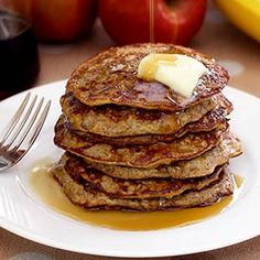 Paleo Apple-Cinnamon Pancakes ** substitute the almond butter to Sunflower…