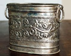 Vintage Silver Wine Cooler with Ring Handles Raised Floral Scroll Design Etched Engraved Embossed Repousse Repoussed Oblong Large Antique