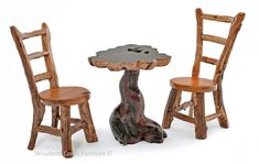 Log Bistro Table and Chairs Round Pub Table, Small Table And Chairs, Dining Chairs, Dining Table, Bar Tables, Wood Table, Log Furniture, Outdoor Furniture Sets, Small Bar Table