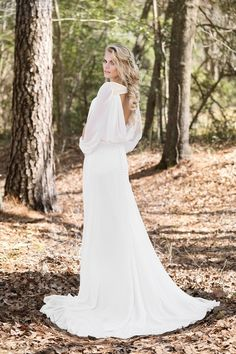 Lillian West Chiffon Gown with Keyhole Neck and Open Long Sleeves Boho Gown, Boho Wedding Dress, Dream Wedding Dresses, Wedding Gowns, Boho Bride, Wedding Pics, Bridal Gowns, Wedding Ideas, Lillian West