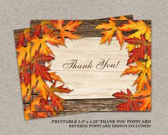 DIY Printable Fall Wedding Thank You Card With Colorful Leaves by iDesignStationery, $4.95 #Fall #Autumn #FallWedding #Etsy