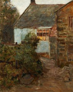 Helen McNicoll, Cottage, Evening, c. 1905 Oil on canvas, 56 x 45.5 cm. The Robert McLaughlin Gallery, Oshawa, Ontario. #ArtCanInstitute #CanadianArt