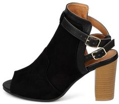 LUCITE18A BLACK SUEDE PEEP TOE CRISSCROSS SLINGBACK STACKED CHUNKY HEEL ONLY $10.88