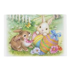 Cute Easter bunnies placemat
