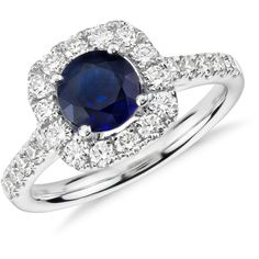 Blue Nile Sapphire and Diamond Cushion Halo Ring ($2,850) ❤ liked on Polyvore featuring jewelry, rings, 14k ring, diamond jewelry, blue nile jewelry, 14 karat gold ring and long rings