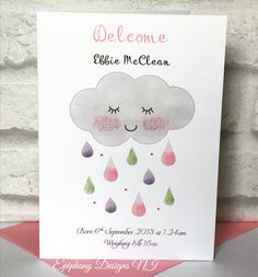 New Baby Girl Card Personalised Sleepy Cloud with glitter raindrops and diamanté