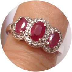 """Genuine Ruby Ring 1.35 CTS Genuine natural Niassa Ruby (Ovl 0.65 Ct) 3 Stone Ring in Platinum Overlay Sterling Silver Nickel Free (Size 8) TGW 1.35 Cts. Niassa Rubies are from Mozambique. From the Sanskrit word """"ratnaraj,"""" meaning """"king of the gemstones,"""" and the Latin """"rubens"""" meaning red, the ruby reigns supreme over other colored gemstones and is considered one of the most treasured jewels in history. This highly coveted gem has it all-splendid color, exceptional hardness and a superior…"""