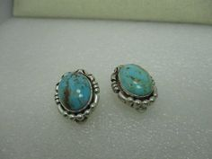Sterling Silver Southwestern Turquoise Clip Earrings, signed #signedwithgraphblossomshape #clip