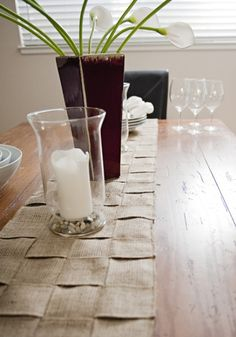 Burlap table runner.  Hint: sew a pattern within some of the squares to add a special touch.