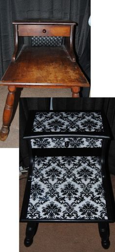 painted them with black acrylic paint, then used scrapbook paper for the design.  I then sealed the entire table with multiple coats of Mod Podge. Gotta love Mod Podge!