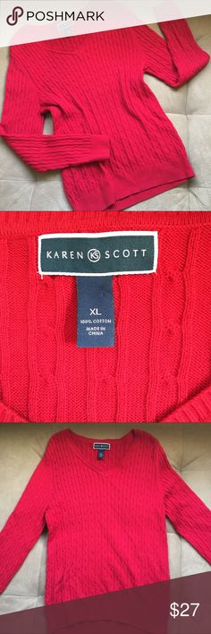 EUC Karen Scott Oversized Sweater Sz XL Still in great condition, this sweater is perfect for upcoming Christmas pictures! Made from 100% cotton, its warm and comfortable. The sleeves are 27 inches and the length is 30 inches. Karen Scott Sweaters V-Necks