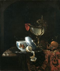 Unidentified Artist, Still Life with Chinese Sugarbowl, Nautilus Cup, Glasses, and Fruit, ca. 1675-1700.  Oil on canvas.  Gift of The New-York Gallery of the Fine Arts, 1858.15.