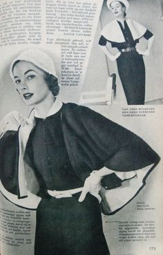 two 'suits' of fitted dresses with bolero's/capelets, Beatrijs 1951